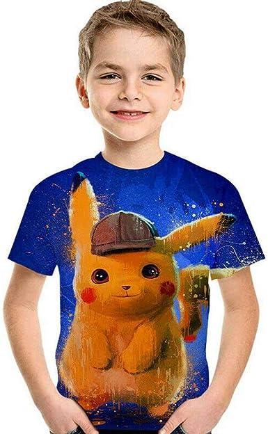 Pokemon Kid Boys Girls Detective Pikachu 3D Printed Pullover Tops Casual T-shirt