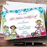 Spa Makeover Nail Theme Personalized Birthday Party Invitations