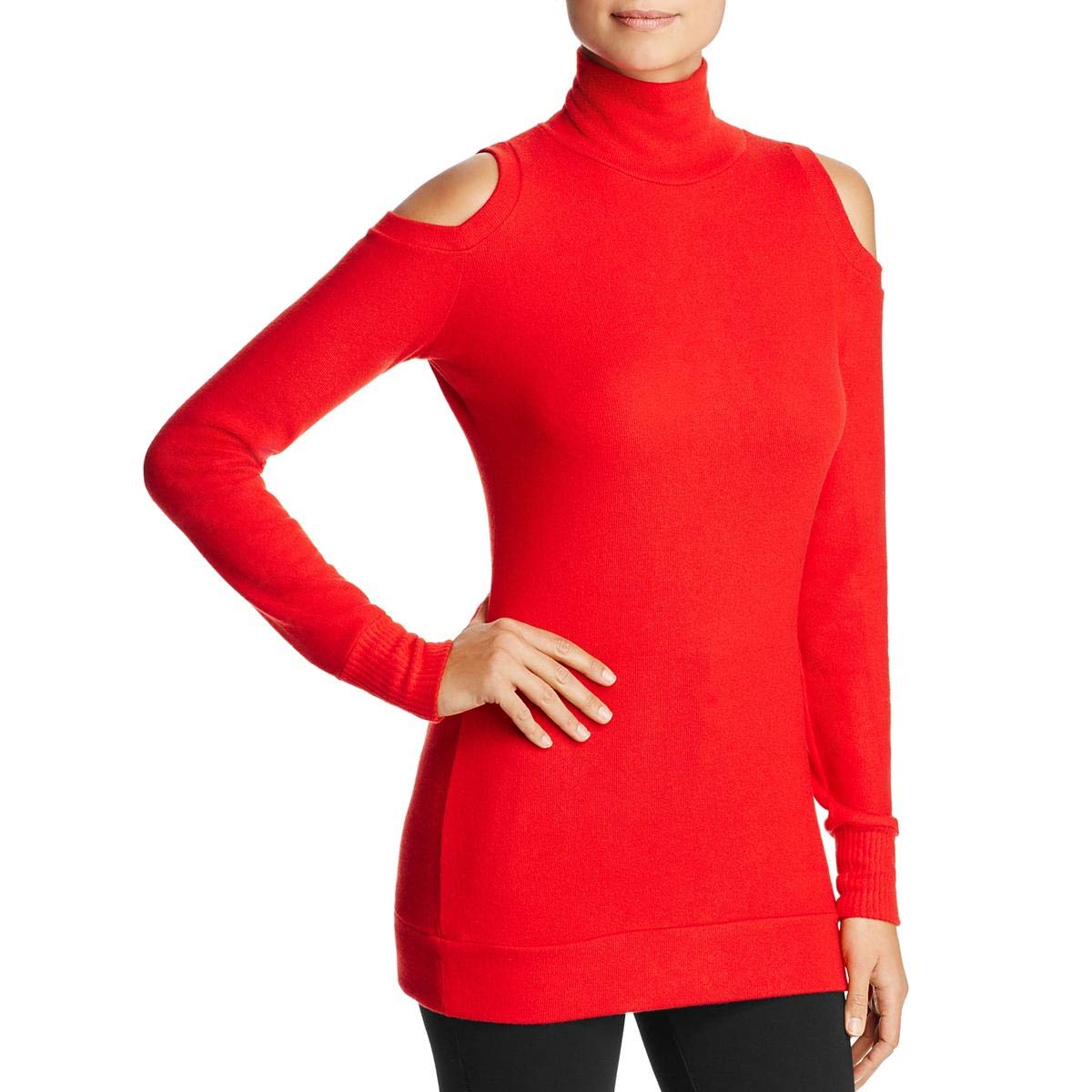 Bright Red Three Dots Womens Long Sleeve Cold Shoulder Mock Sweater