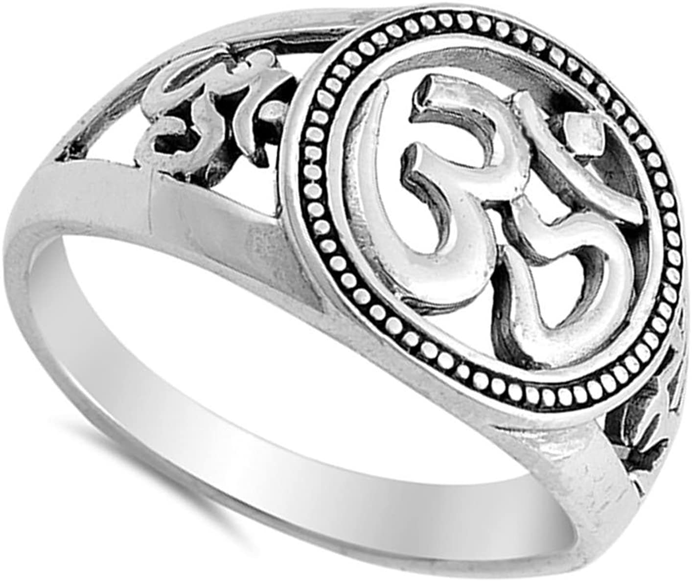 Om Sign Unique Beaded Halo Ring New .925 Sterling Silver Band Sizes 5-10