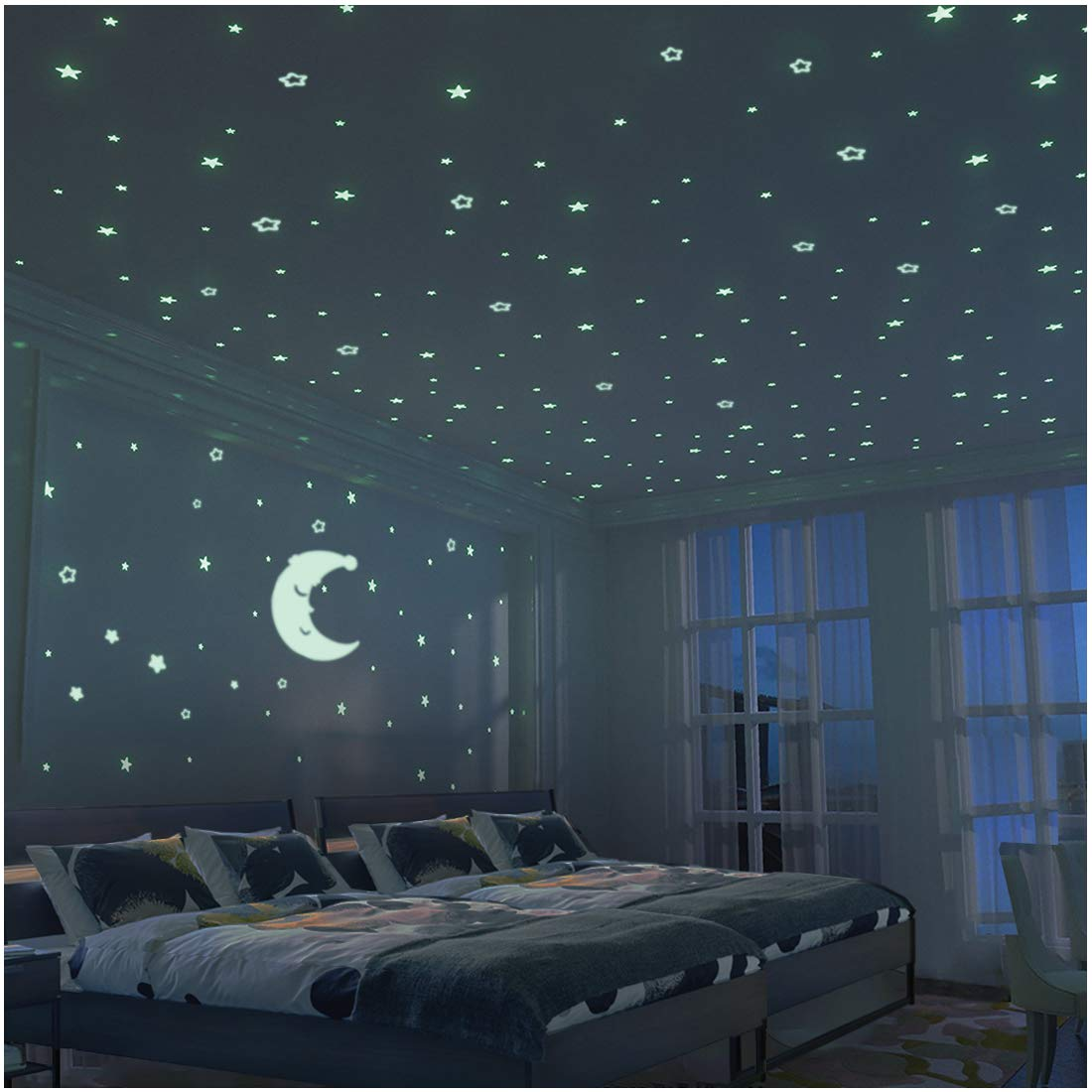 Glow in The Dark Moon and Stars - 300PCS - 9.4'' Large Moon and Various Size Fluorescent Stars for Ceiling Decoration in Kids Room by FRETOD (Image #1)