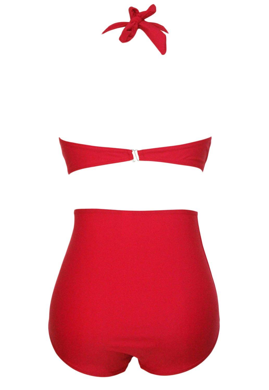 Ladies Plus Size Red High Waisted Halter Neck Bikini Swimsuit Monokini Size 3XL UK 14-16