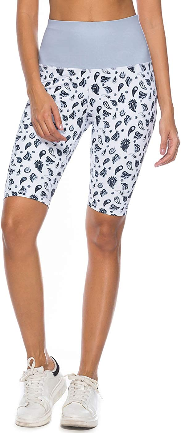 Mint Lilac Women/'s High Waist Workout Printed Yoga Shorts Athletic Mid-Length Tummy Control Running Short Pants