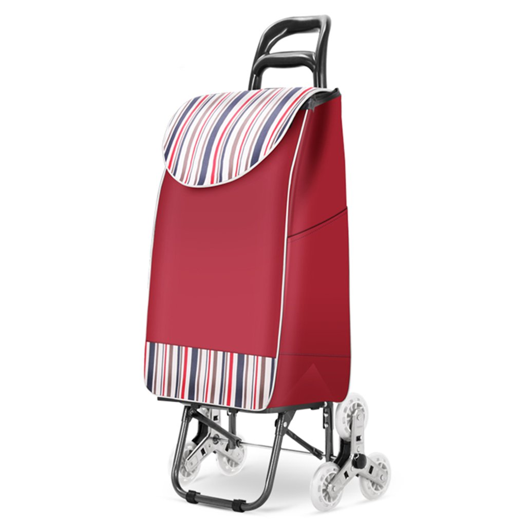 J-JIAショッピングキャリー 軽量階段折りたたみ折りたたみ式ショッパー荷物用カートカーボンスチールショッピンググロッサリートロリー|カート|トラベルカート6ベアリングホイールプルカブストライプオックスフォード布大容量35L (色 : 赤) B07F1RHYDV 赤 赤