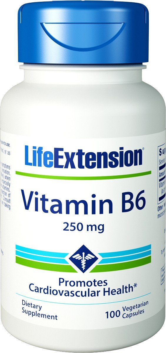 Vitamin B6, 250 mg, 100 Vcaps by Life Extension (Pack of 6)