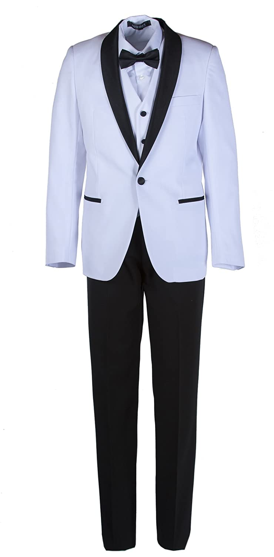 Boys Slim Fit White & Black Shawl Dinner Suit in Toddlers to Boys Sizing TG-641FG-SLIM-TAN-18B
