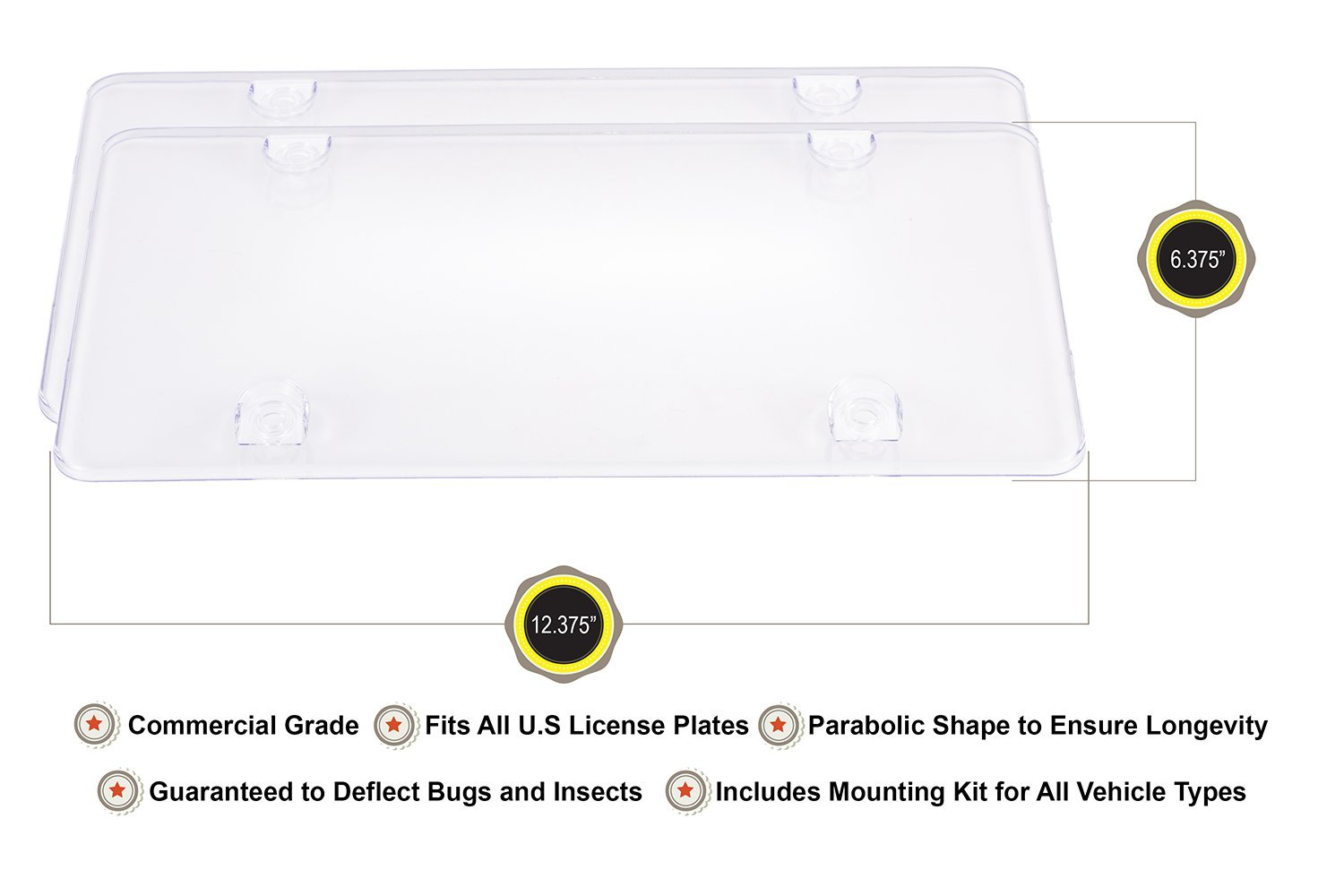 Atlantica License Plate Covers 2 pack Universal Clear License Plate Cover Protector Shield for Cars