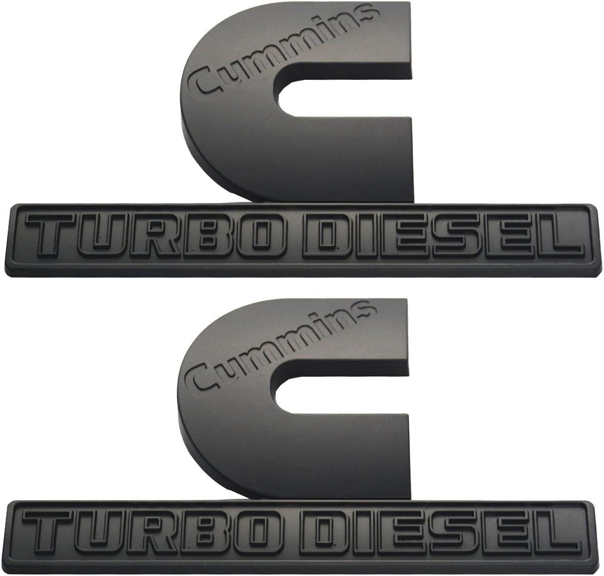 Chrome Aimoll 2pcs Cummins Turbo Diesel emblems,3D Decal Badges High Output for Ram 2500 3500 Nameplate Emblem Mopar