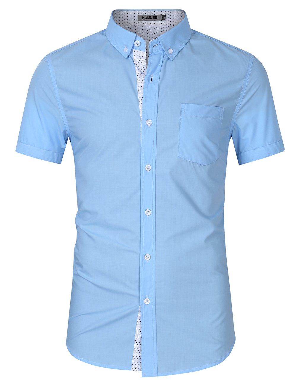 Kuulee Men's Casual Slim Fit Short Sleeve Button Down Business Shirt Cotton Dress Shirts Light Blue XL