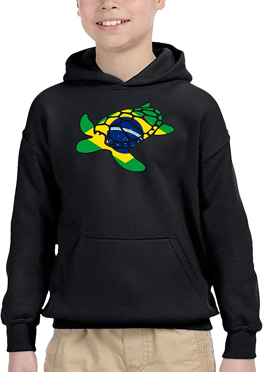Brazil Flag Sea Turtle Kid Boys Girls Long Sleeve Sweatshirts Pullover Hoodie 2-6T