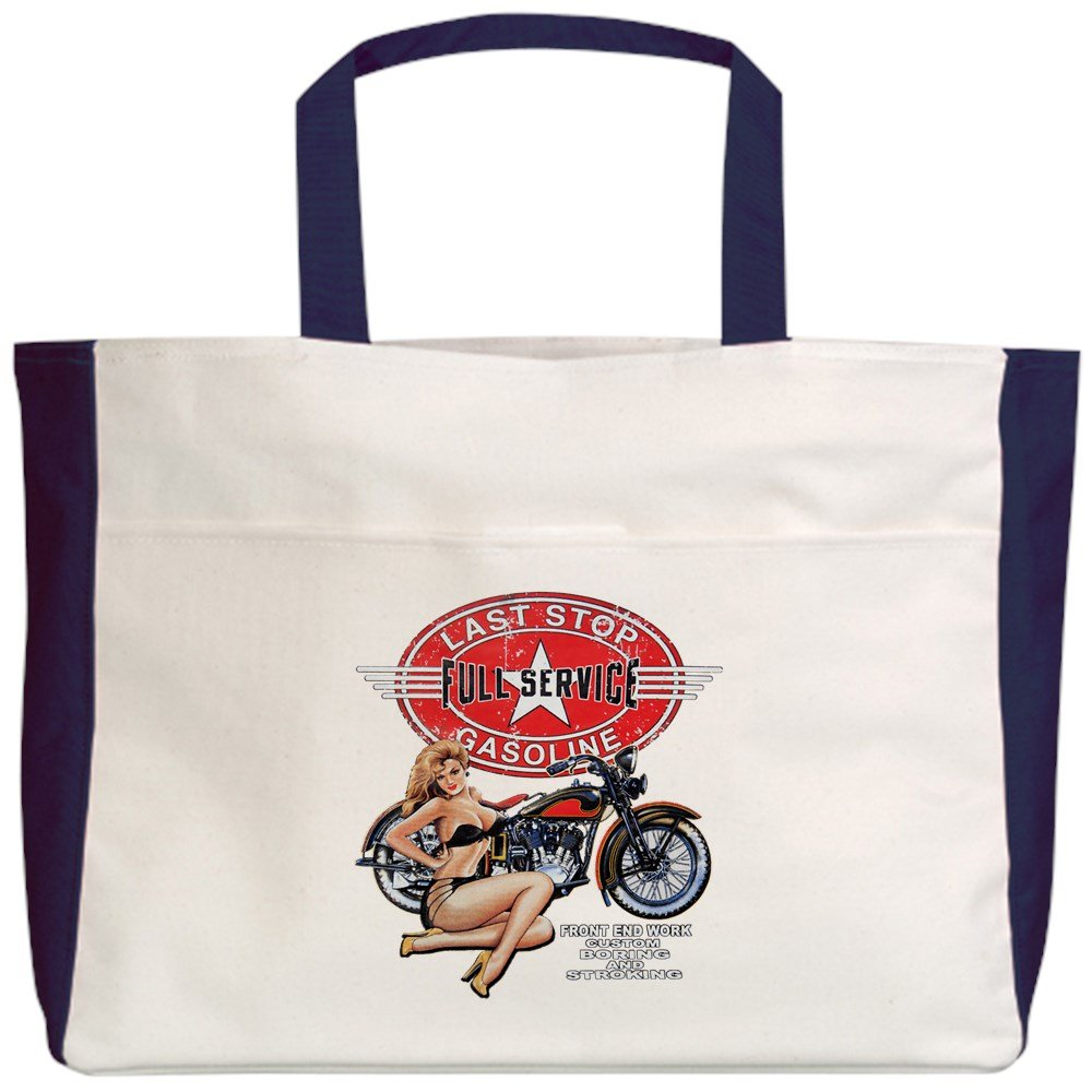 Royal Lion Beach Tote (2-Sided) Last Stop Service Motorcycle Girl - Navy