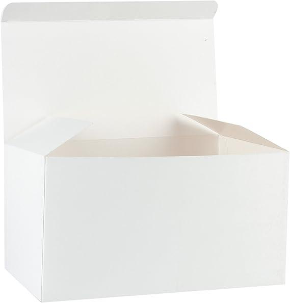 RUSPEPA Cajas De Regalo De Cartón Reciclado - Caja Decorativa Grande con Tapas para Navidad, Cumpleaños, Días Festivos, Bodas - 30.5X15.5X15.5 Cm - Paquete De 10 - Blanco: Amazon.es: Hogar