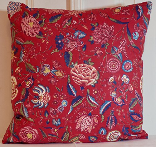 Handmade Dutch Heritage Chintz Pillow Cover madder red blue and green Floral Throw Cushion - pick your size