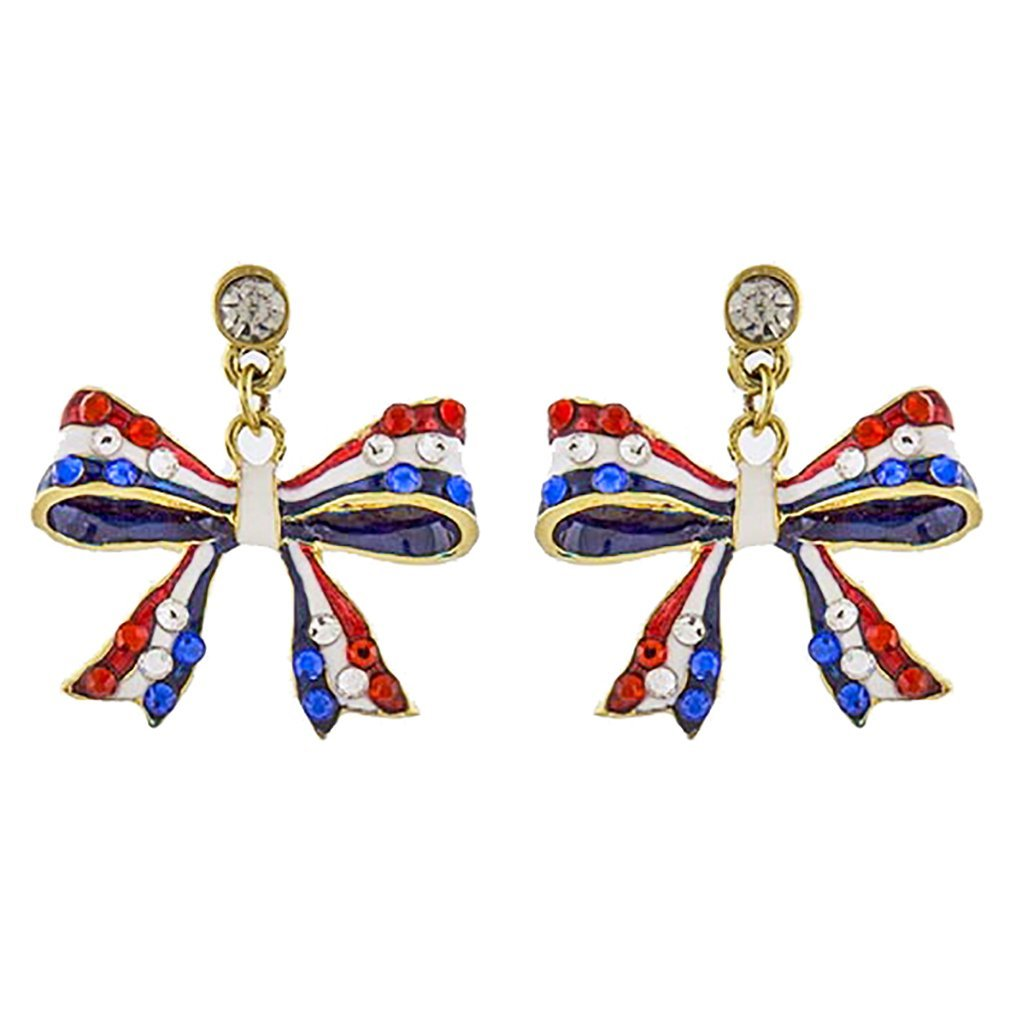 ACCESSORIESFOREVER Patriotic Jewelry American Flag Ribbon Bow Crystal Dangle Earrings E1210 Gold