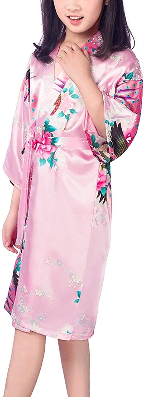 Girls Satin Kimono Robe Peacock Blossoms Bathrobes Weeding Gown SFA Wedding Birthday Ages 1-12 Slumber Party