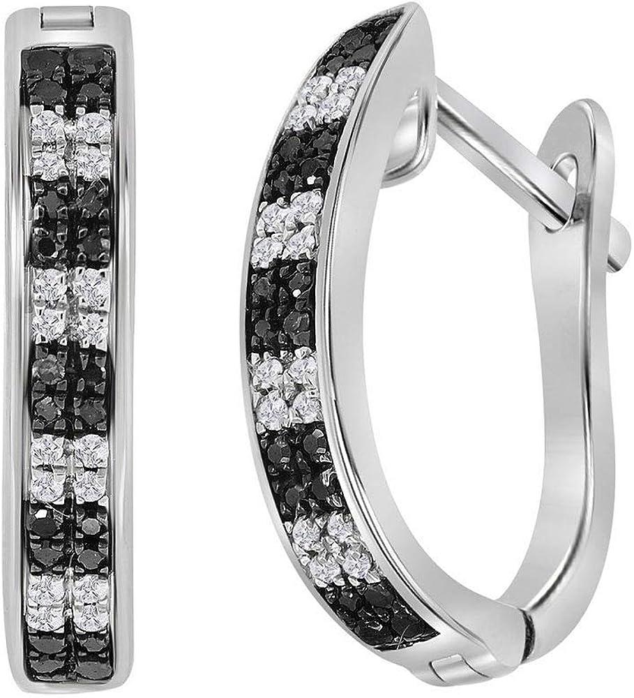 Black Diamond Hoop Earrings 1//6ct 925 Sterling Silver