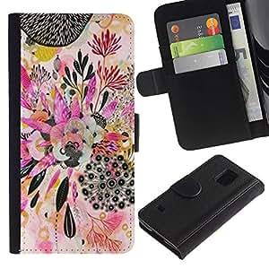 For Samsung Galaxy S5 V SM-G900 Case , Plant Art Abstract Drawing - la tarjeta de Crédito Slots PU Funda de cuero Monedero caso cubierta de piel
