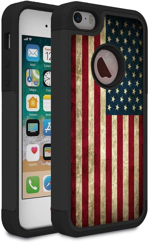 Rossy iPhone 5S Case,iPhone SE Case, Retro Vintage Old USA American Flag Design Shock-Absorption Dual Layer Hard PC and Soft Silicone Heavy Duty Bumper Protective Case Cover for Apple iPhone 5/5S/SE