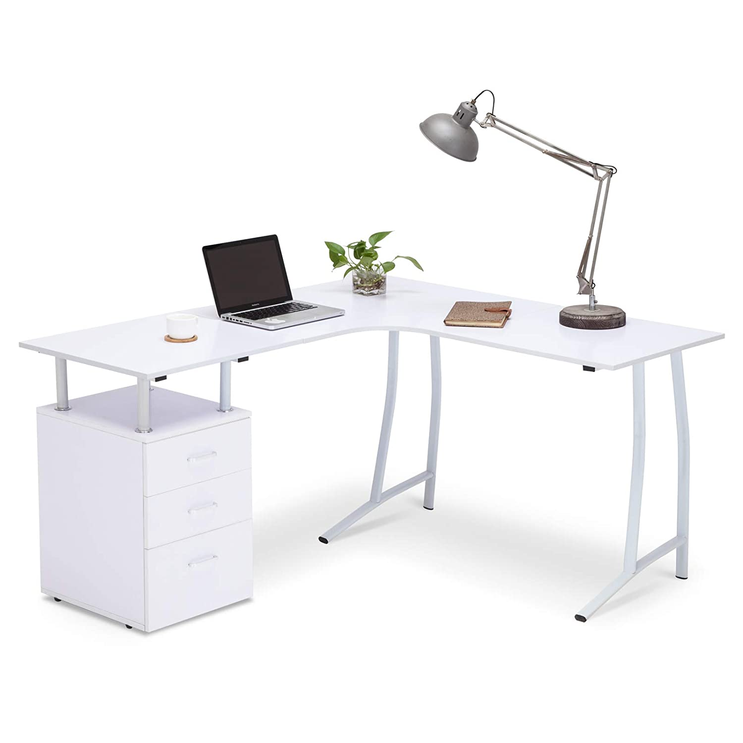 mecor L-Shape Corner PC Computer Desk Home Office PC Table with 3 Drawers