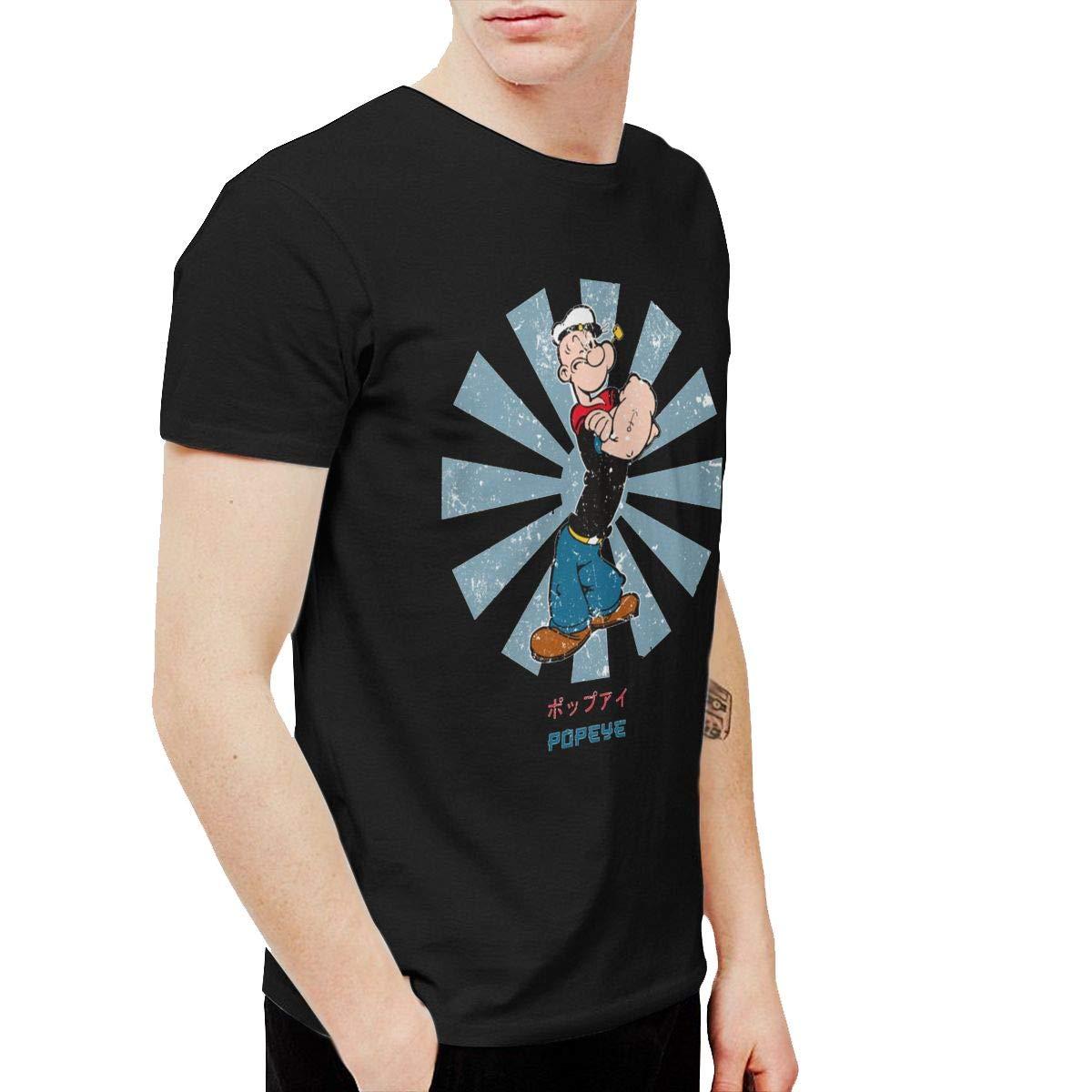 Kaddias Popeye Retro Japanese S Soft Short Sleeve T Shirt Black