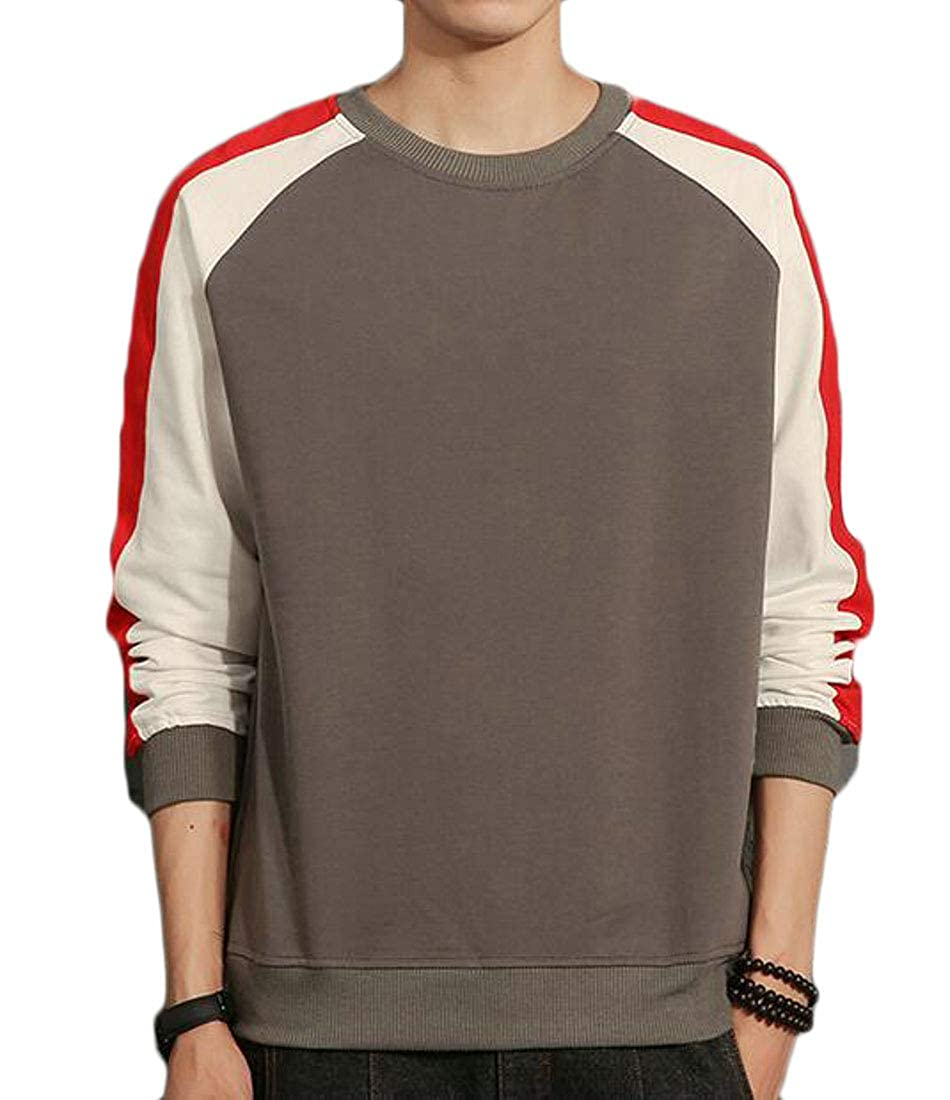 Lutratocro Mens Pullover Long Sleeve Stylish Round Neck Color Block Top Sweatshirts