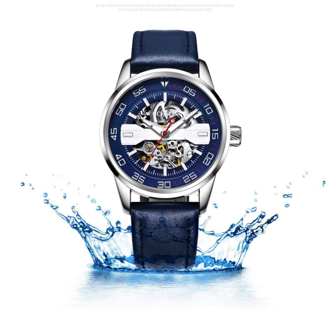 Herrklockor mode ihålig automatisk mekanisk klocka lysande vattentät klocka Casual Silver Brown