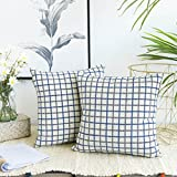 Decorative Pillow Cover - Kevin Textile Classic Plaids Cotton Linen Chenille Jacquard Decorative Throw Pillow Case Supersoft Cushion Cover Checkered Pillowcase for Sofa, Set of 2, 18 x 18 Inch, Navy Blue
