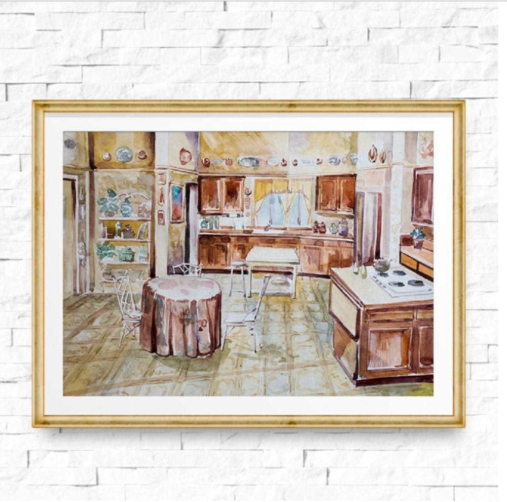 Amazon Com Wsqyf Wall Art Watercolor Golden Girls Kitchen Print 90s Tv Show Poster Canvas Painting Golden Girls Apartment Home Wall Decor 60x80cm No Frame Posters Prints