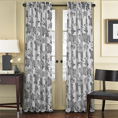 Five Queens Court April Floral Toile Print Sheer Curtain Window Panel, 50×95, Black