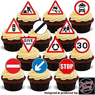 12 x Road Signs Mix Learner Driver - Fun Novelty Birthday PREMIUM STAND UP Edible Wafer  sc 1 st  Amazon UK & 12 L plate learner rice paper fairy / cup cake 40mm toppers pre cut ...
