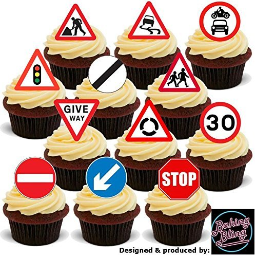 12 x Road Signs Mix Learner Driver - Fun Novelty Birthday PREMIUM STAND UP Edible Wafer Card Cake Toppers Decoration ()