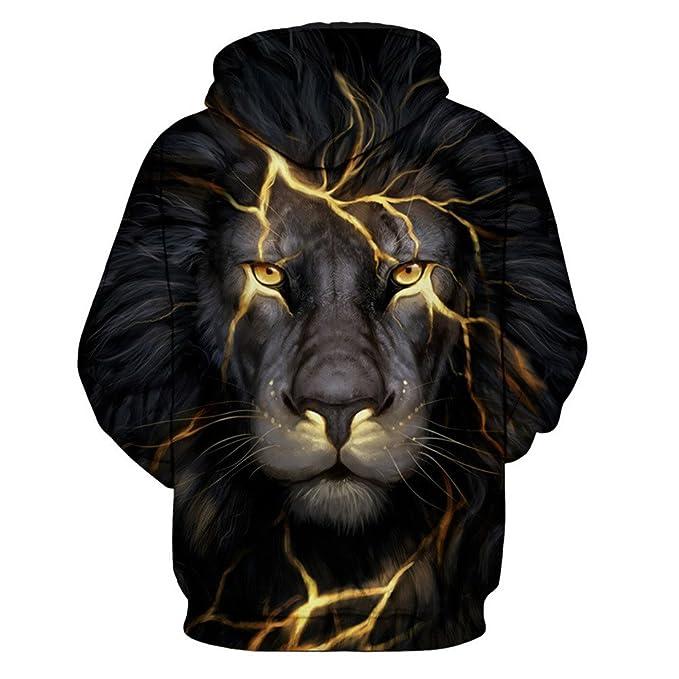 Sylar Pareja Sudaderas con Capucha Manga Larga Impresión De León 3D Bolsillo Encapuchado Jersey Pullover para Hombre Y Mujer Abrigo Informal Suéter: ...