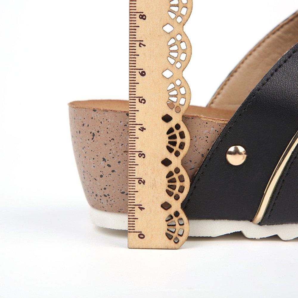 MSM4 Sommer Damen Keil Sandalen Sandalen Sandalen Hausschuhe Flip Flops Leder Verdickung heel5.5cm 7e2780