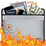 Fireproof Money Bag, 15'' x 11'' Fireproof Envelope Storage Pouch Bags. Non-Itchy Fire/Water Resistant Document Bag for Money, Jewelry, Passport - Zipper Closure, Silicone Coated