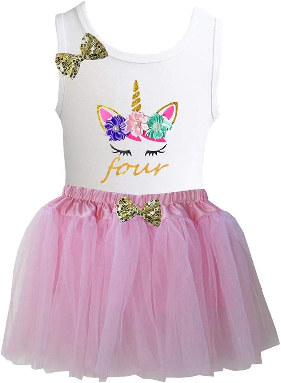 Kirei Sui Girls Light Pink Tulle Tutu /& Tee 1st-5th Birthday Unicorn Outfit