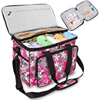 Knitting Bag, Yarn Tote Storage Organizer with Separate Crochet Hooks & Knitting Needles Bag,Slits on Top to Protect…