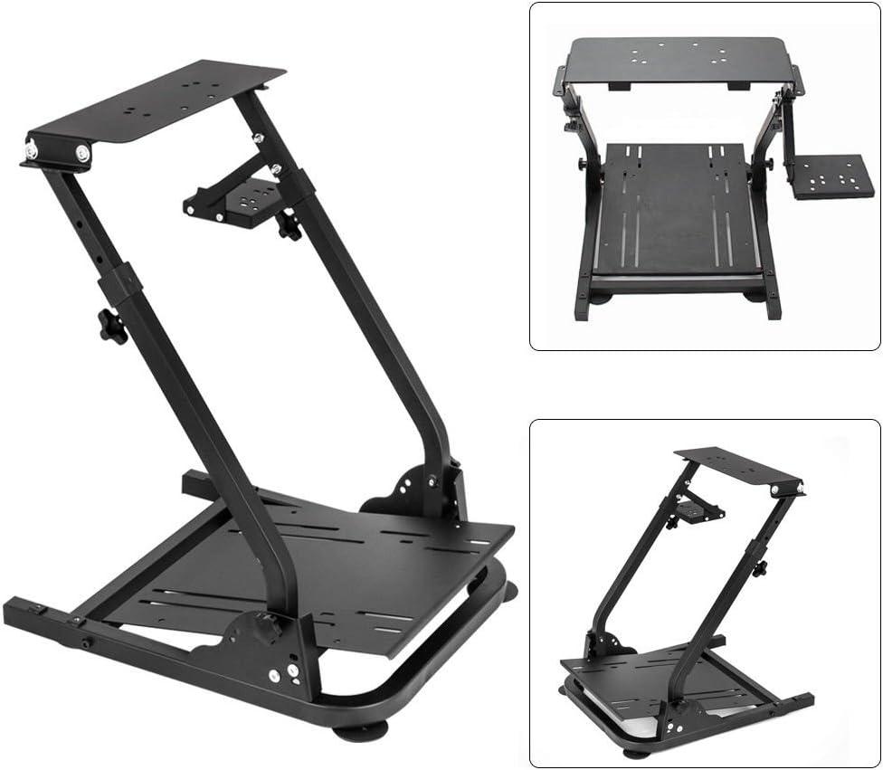 Simulation Driving Bracket Racing Simulator Steering Wheel Stand, Racing Frame Pro Cockpit for Logitech G25 G29 G27 (Black) GDAE10