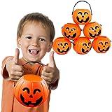 12 Treat Yourself Realistic Pumpkin Sweet Holder Jar with Handles - Candy Goody Halloween Memorable Bag Buckets.