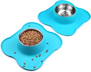 Vivaglory Dog Bowls Set, 2 Pack Puppy Bowls with Non Spill Silicone Mat and Food Grade Stainless Steel Water and Food Feeding Bowl for Kitty Puppy Cat Dog