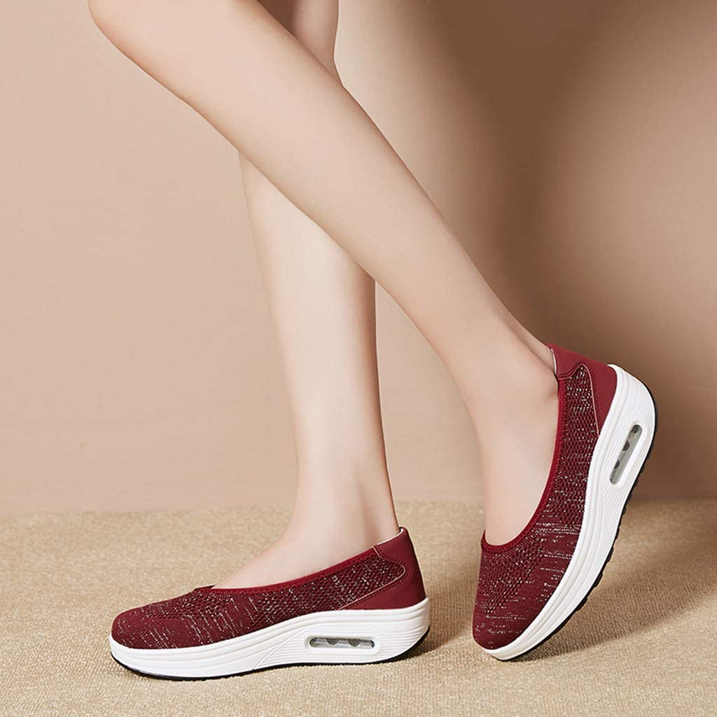 Haalife◕‿Womens Platform Walking Shoes Casual Slip on Comfortable Loafers Mesh Nurse Shoes