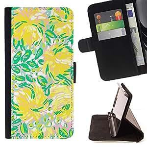 Momo Phone Case / Flip Funda de Cuero Case Cover - Verde Flores Flujo de Verano - LG G4 Stylus H540