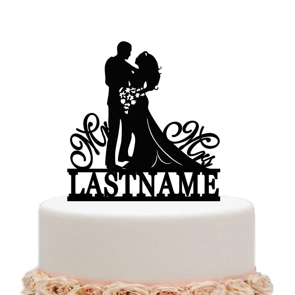 ivisi Personalized Wedding Cake Topper Funny Bride Groom Decoration (Black)