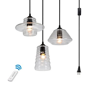 HMVPL 3-Lights Vintage Glass Pendant Light with 16.4 Ft Plug-in Hanging Cord and 60 Yards Remote Control, Classic Rustic Chandelier Lighting Fixture for Entryways, Dining Room Max 120W