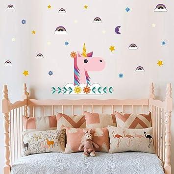 Sayala Decoración cumpleaños Unicornio - Decoración Infantil de Pared, Unicornio impresión Bling Estrellas eliminación Arte Pegatinas DIY niños niñas ...