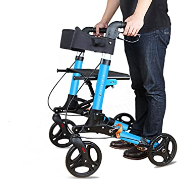 Andador de acero inoxidable azul Walker plegable con ruedas ...