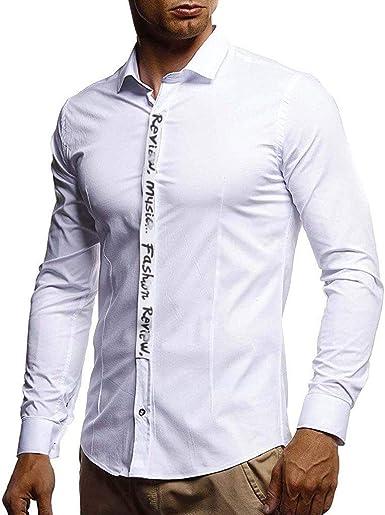 waotier Camisas Casual Hombres Pure Color Splicing Camisa de Manga Larga Moda Slim fit Blusa de Manga Larga Top: Amazon.es: Ropa y accesorios