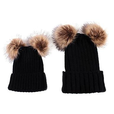ebc3d1b7674 Clode® 2PCS Mom and Baby Knit Double Pom Pom Bobble Hat Kids Girls Boys  Winter Warm Beanie Hat (Black)  Amazon.co.uk  Clothing