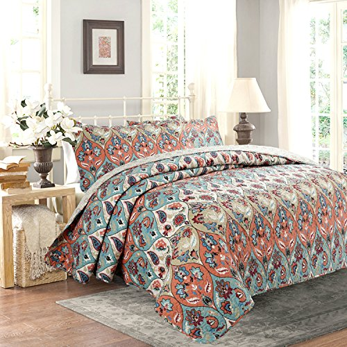 Bohemian Floral Paisley Quilted Coverlet Bedspread Set