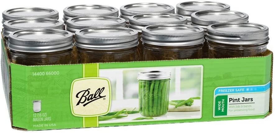 12 pk Glass Canning Jars with Lids 16 oz.
