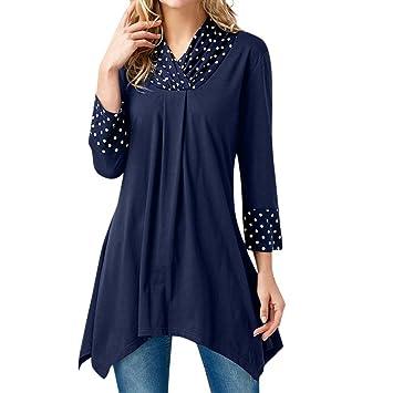 Ropa Camisas Mujer, ❤ Modaworld Camisa de Blusa Tops Irregulares de impresión Puntos de